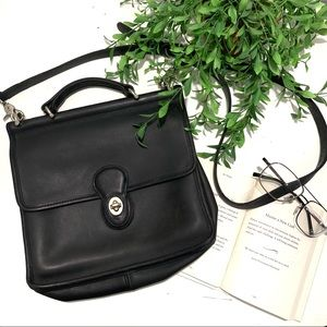 Vtg Coach Black Leather Messenger Crossbody Bag
